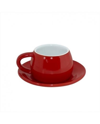 Xícaras Com  Píres 150ml Tropeiro Vermelho/branco