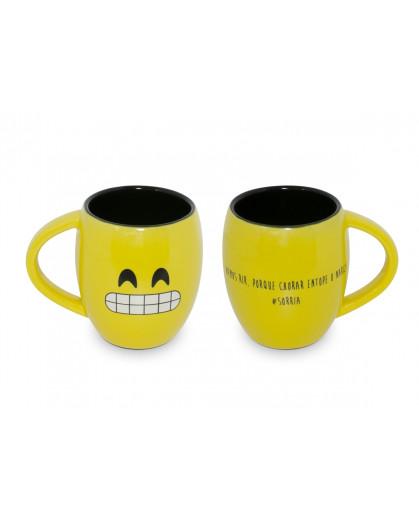 Caneca Concava Ceraflame 300ml (Diverticon-Sorria) - Amarelo