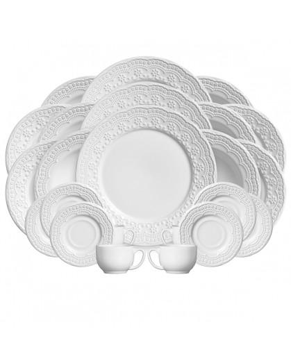 Aparelho de Jantar Madeleine Branco Porto Brasil em Cerâmica 30 Peças