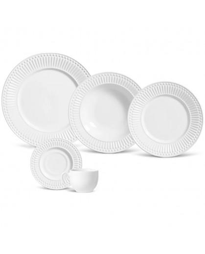 Aparelho de Jantar Roma Porto Brasil em Cerâmica Branca 30 Peças