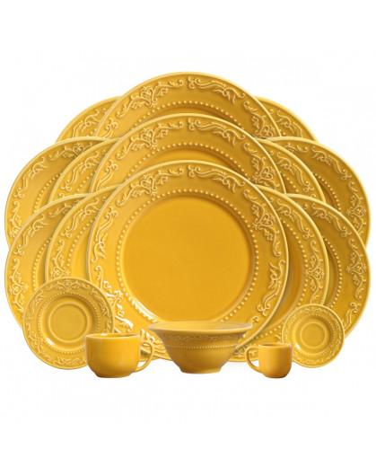 Aparelho de Jantar Acanthus Mostarda Porto Brasil em Cerâmica