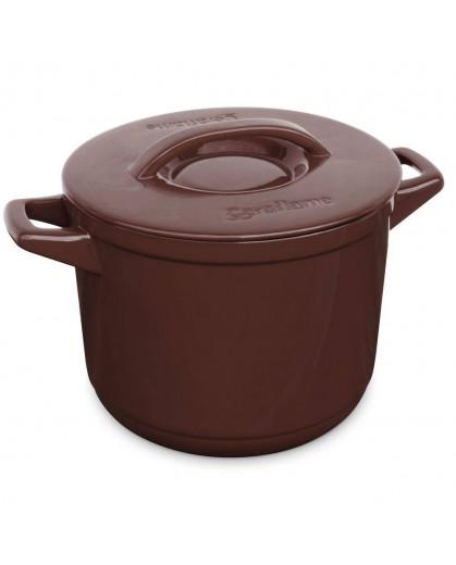 Caçarola Alta de Cerâmica Ceraflame Duo+  24cm 7000ml Chocolate