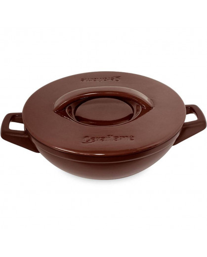 Caçarola Wok Ceraflame Duo+ em Cerâmica  28cm 3,5 Litros Chocolate
