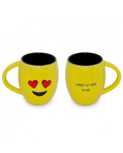 Caneca Concava Ceraflame 300ml (Diverticon-Amor) - Amarelo