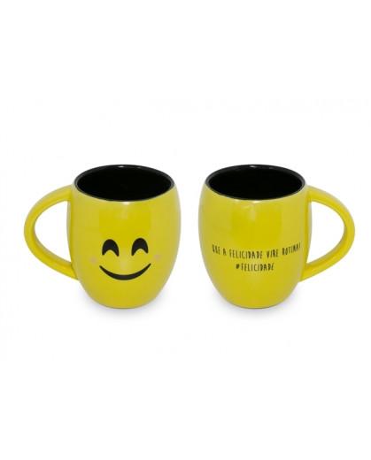 Caneca Concava Ceraflame 300ml (Diverticon-Felicidade) - Amarelo