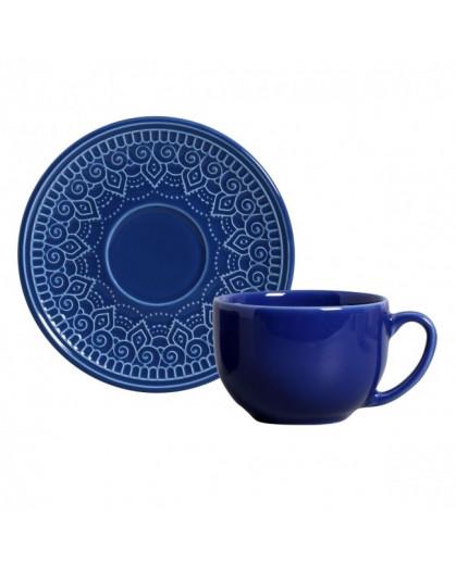 Xícaras e Píres Para Chá Agra Azul Porto Brasil 6 Lugares