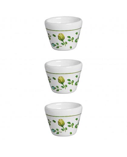 Conjunto de Mini Vasos de Cerâmica para Tempero Cerâmica Silveira Rose 6X5cm 3 peças