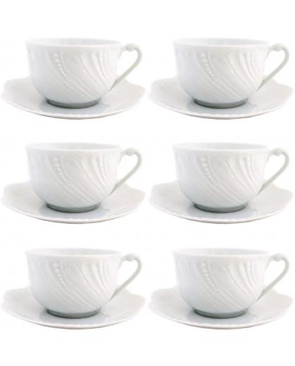 Conjunto de Xícara de Chá Royal Limoges Ocean Porcelana 6 Lugares