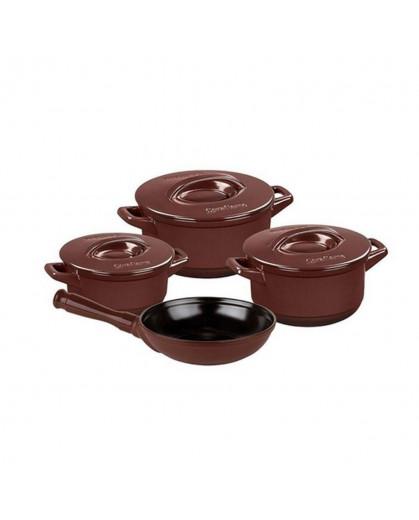 Conjunto de Panelas Ceraflame Duo+ em Cerâmica 4 Peças Chocolate