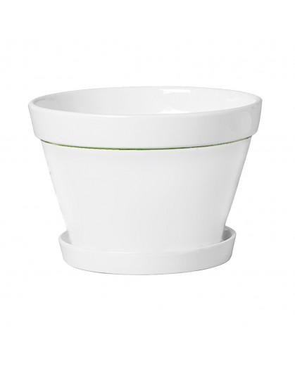 Floreira Cachepot Oval com Base em Cerâmica Esmaltada Branca 2 Peças