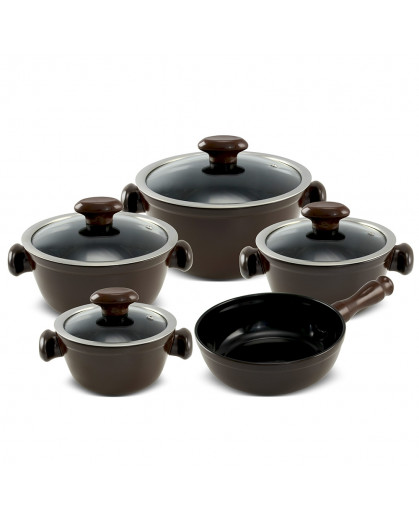 Conjunto de Panelas Ceraflame Chef  em Cerâmica 5 Peças Chocolate