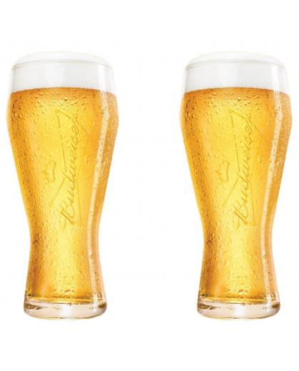 Jogo de Copo de Cerveja Budweiser 400ml 2 Peças