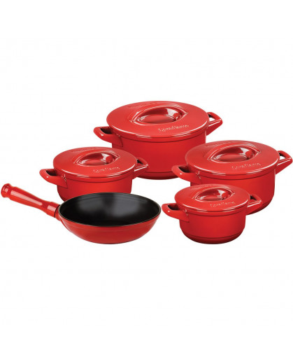 Jogo de Panelas Ceraflame Duo+ em Cerâmica Vermelho Pomodoro 9 Peças