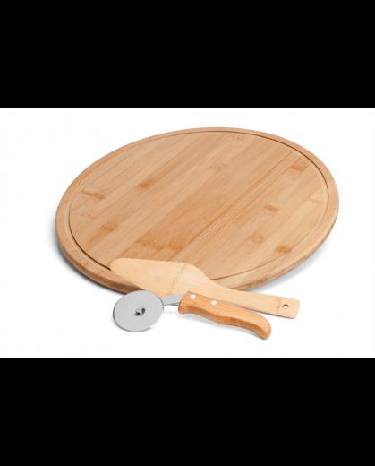 Conjunto para Pizza em Bambu 35cm - 3 Peças