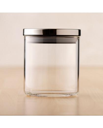 Pote Hermetico de Vidro Com Tampa Inox 450ML 10x10cm