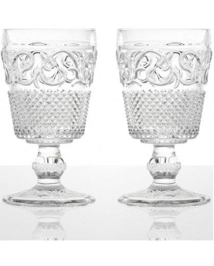 Taça de Água Bico de Jaca Colonial em Vidro Transparente