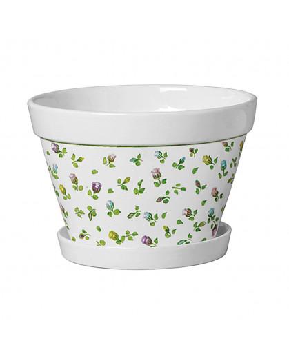 Vaso Branco de Cerâmica Esmaltada Linha Rose 22x17x12cm