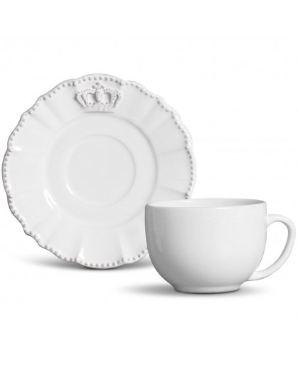 Xícara Chá Windsor Branco Porto Brasil Cerâmica