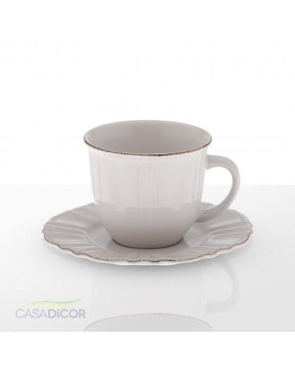 Xícara de Café com Píres Provençal Branco Renda