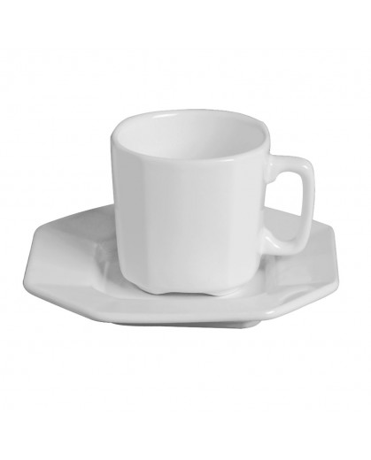 Conjunto de Xícaras de Chá com Pires Branco em Cerâmica Scalla Objeto 6pçs 8cm