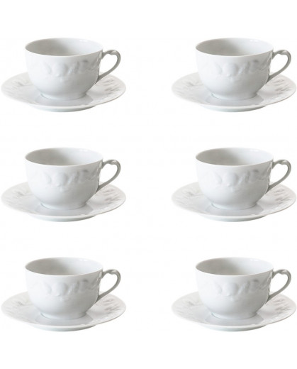 Xícara de Chá Royal Limoges Riviera Porcelana Branca 180ml