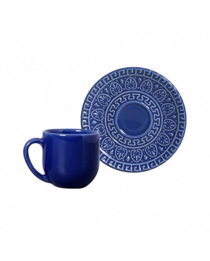 Xícaras e Píres Para Café Greek Azul Navy Porto Brasil 112ml 6 Lugares