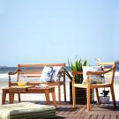 Conjunto de Móveis Praia Para Área Externa em Madeira Maciça Linha Varanda Mão e Formão