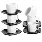 Conjunto de Xícaras de Chá com Pires Black & White em Cerâmica Scalla Objeto 6pçs 16cm