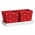 conjunto vasos vermelhos com base branca em cerâmica esmaltada 3 peças