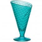 Taça de Vidro Para Sorvete Tipo Casquinha Bormioli Rocco Gelato 16x10cm Azul 280ML