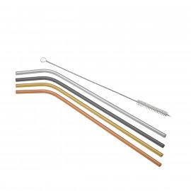 Conjunto 4 Canudos de Aço Inox Coloridos com 1 Escova para Lavar