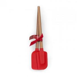 Conjunto de 2 Espátulas em Madeira e Silicone Vermelha 33cm