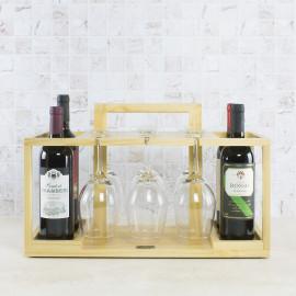 Adega Gift VAIK ® Natural para 4 Garrafas e 6 Taças