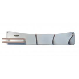 Cabideiro de Parede Wood Entrance Multiuso com Porta Chaves VAIK mdf Branco