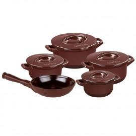 Conjunto de Panelas Ceraflame Duo+ Smart Marrom Chocolate em Cerâmica 5 Peças