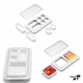 Conjunto Organizador de Alimentos Inpot Branco 3 Peças