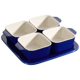 Conjunto Para Aperitivos 5 peças 19x19cm Azul Marinho Staub