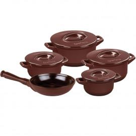 Conjunto de Panelas Ceraflame Duo+ Marrom Chocolate em Cerâmica 5 Peças