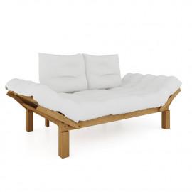 Sofá Futon Country Comfort de Madeira Maciça Cor Jatobá 190cm x 80cm x 83cm