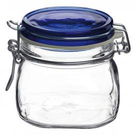 Pote de Vidro Para Cozinha Hermético Fido Tampa Azul Bormioli Rocco 500ml 10cm