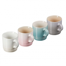 Set 4 Canecas Espresso Calm Collection com Branco Meringue Le Creuset