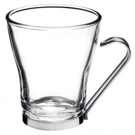 Taça Cappuccino Oslo Bormioli Rocco em Vidro 200ml Alça Inox