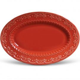 Travessa Cerâmica Vermelha Grande Esparta Porto Brasil 44cm