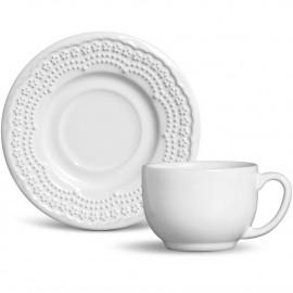 Jogo de Xícaras para Chá Madeleine Porto Brasil Branco 6 Lugares