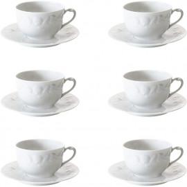 Xícara de Chá Royal Limoges Riviera Porcelana Branca 180ml 6 Lugares
