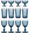 Jogo de Taça e Copo Bico de Jaca Vidro Azul