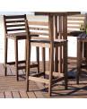 Detalhe Conjunto de Mesa e Banquetas Para Bar em Madeira Maciça Mão e Formão