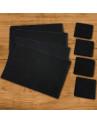 Conjunto de Jogo Americano e Porta Copos em Pedra Natural Negra VAIK ® 8 Peças