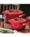 Jogo de Panelas Ceraflame Duo+ Smartem Cerâmica Vermelho Pomodoro 9 Peças