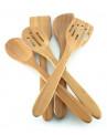conjunto de utensílios de cozinha bambú 6pc mw